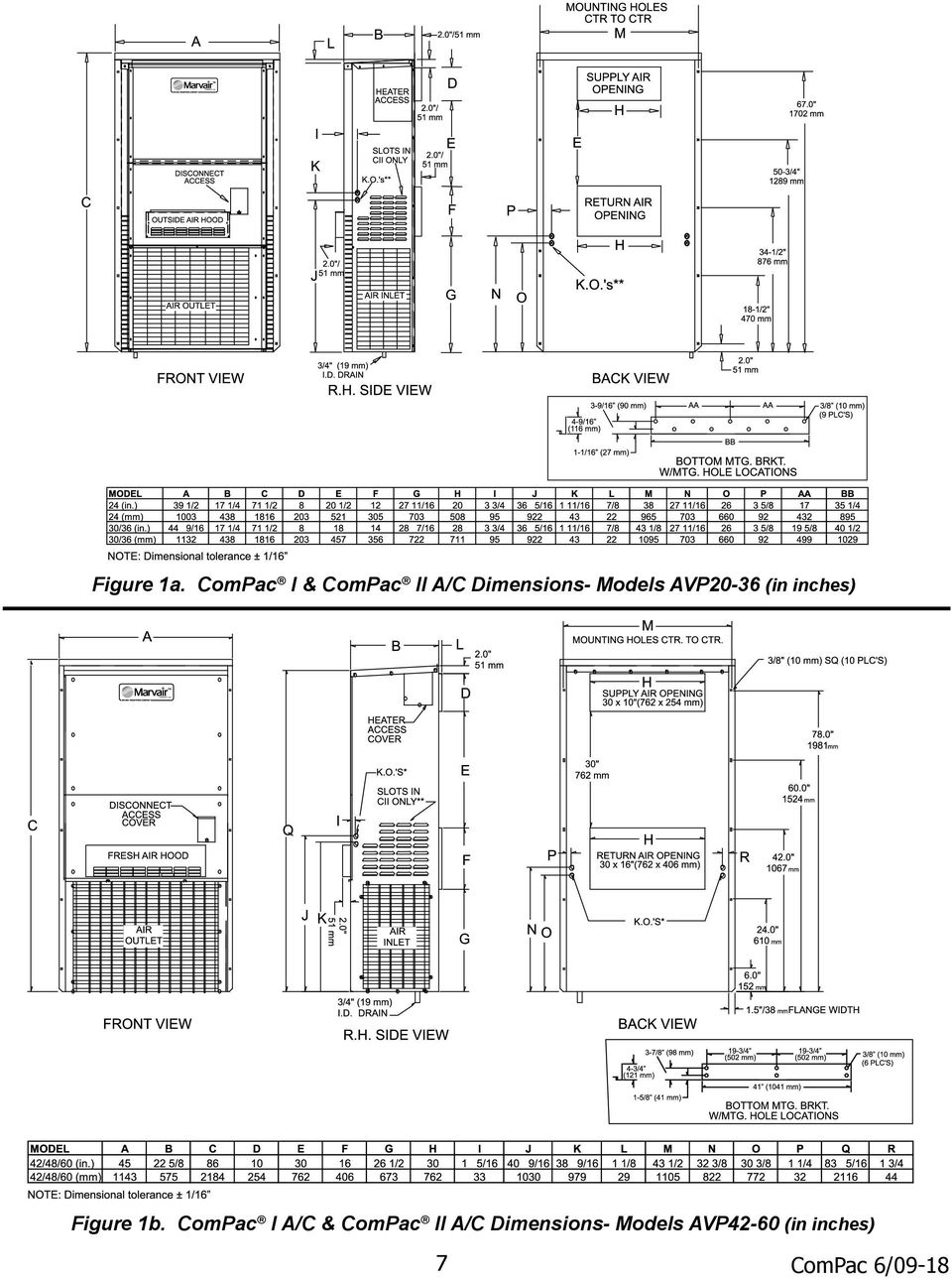 Compac I And Ii Air Conditioner Product Manual Pdf Marvair Conditioners Wiring Diagrams Models Avp20 36 In Inches Figure 1b