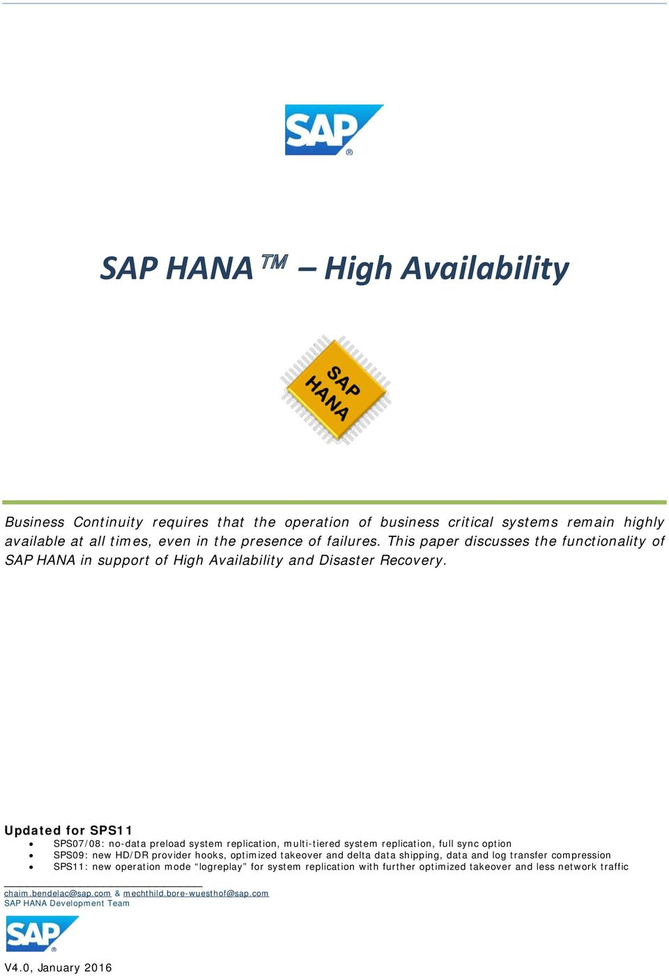 SAP HANA High Availability - PDF