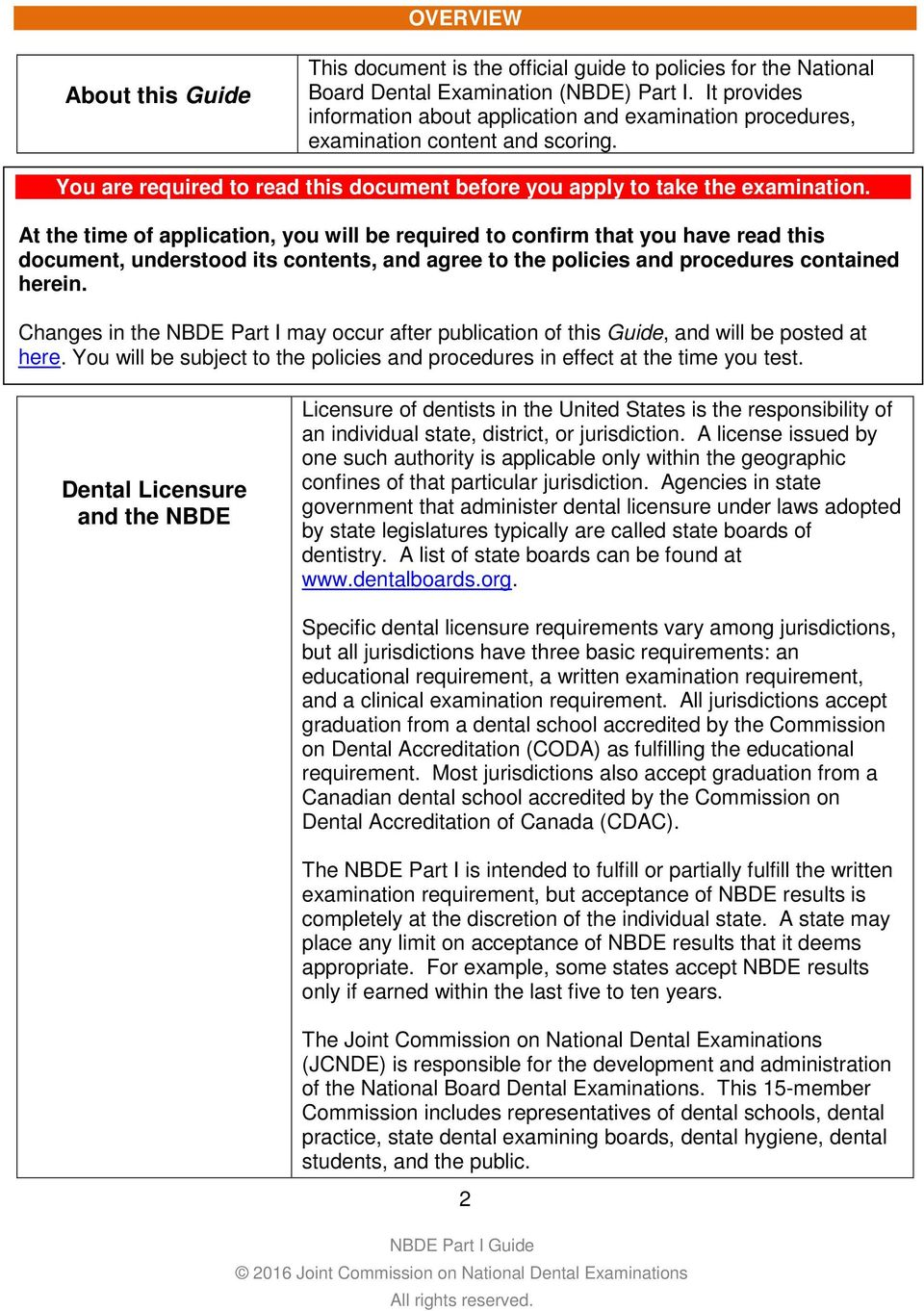 National Board Dental Examination, Part I 2016 Guide - PDF