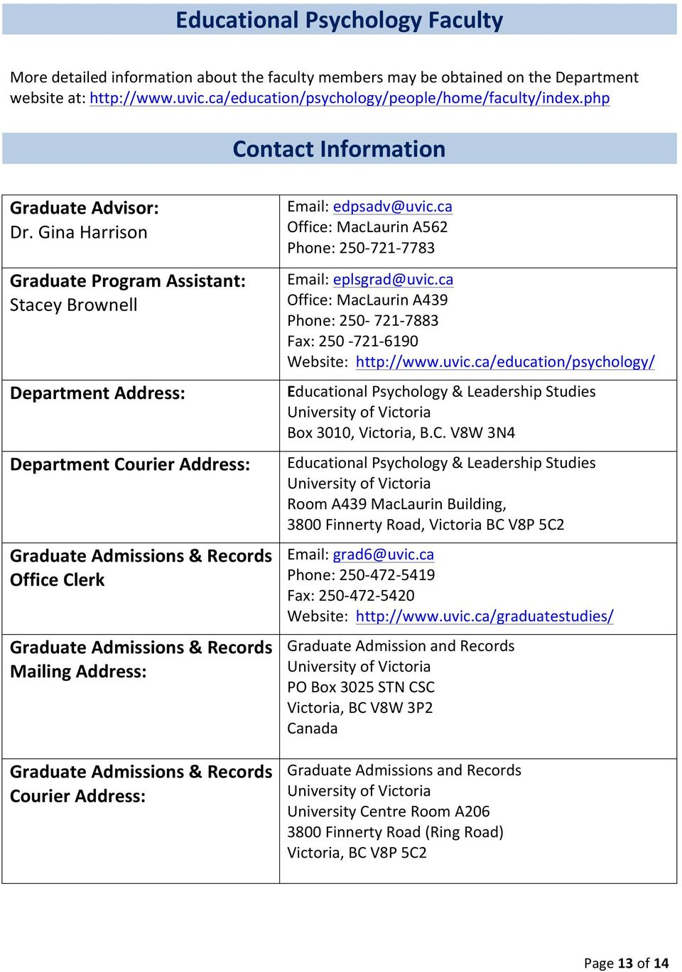 Gina Harrison Graduate Program Assistant: Stacey Brownell Department Address: Department Courier Address: Graduate Admissions & Records Office Clerk Graduate Admissions & Records Mailing Address: