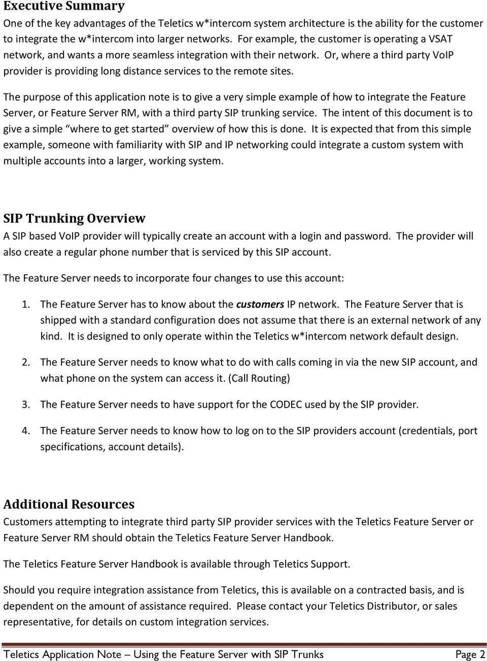 Teletics Application Note  Using the Feature Server with SIP