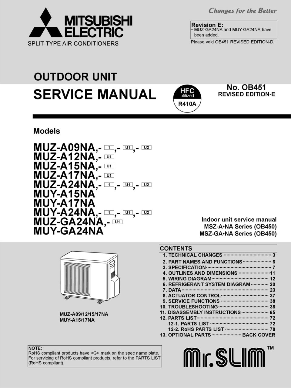 Service Manual Outdoor Unit Muz A09na 1 U1 U2 A12na Wiring Diagrams Indoor Msz A Na Series Ob450 Ga