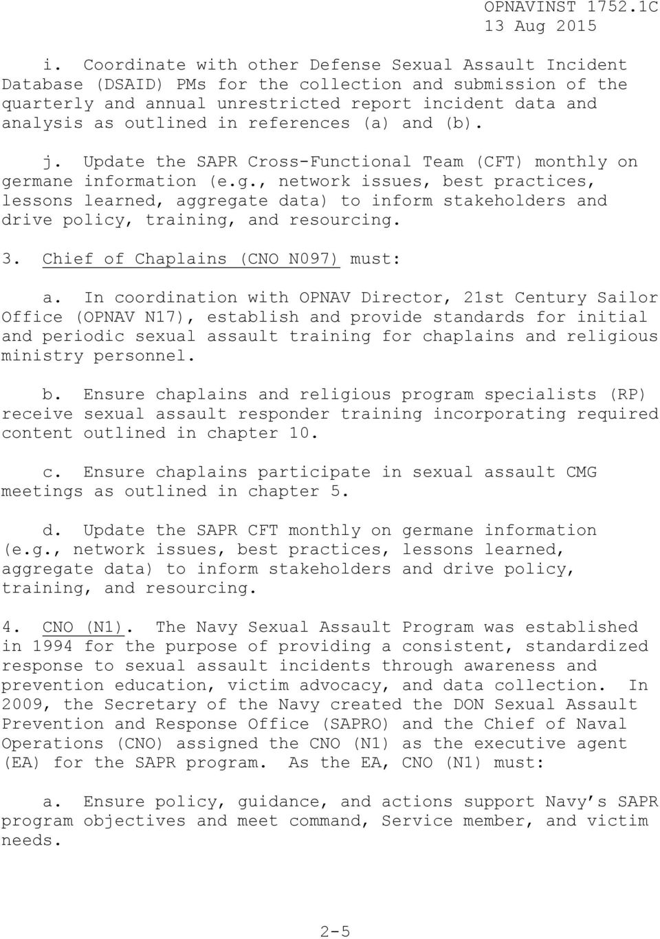 opnavinst c 13 aug 2015 navy sexual assault prevention and response