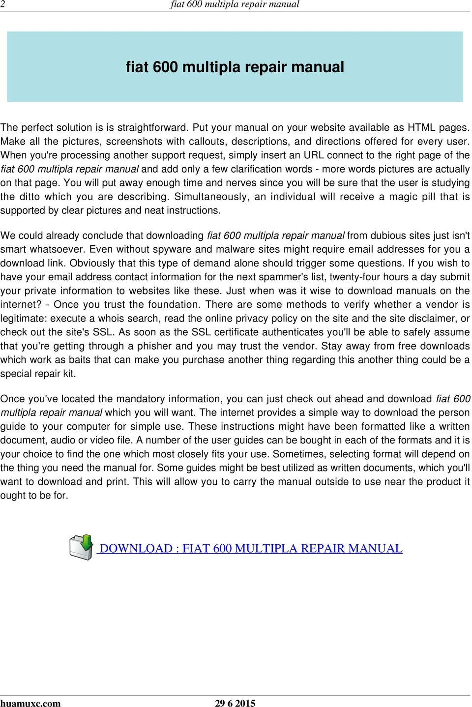 DOWNLOAD : FIAT 600 MULTIPLA REPAIR MANUAL. When you're processing another  support request, simply insert an URL connect to the