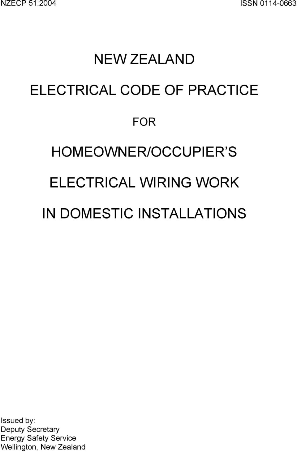 New Zealand Electrical Code Of Practice Homeowner Occupier S Wiring As Well Holder Batten On Telephone Tool Work In Domestic Installations Issued By