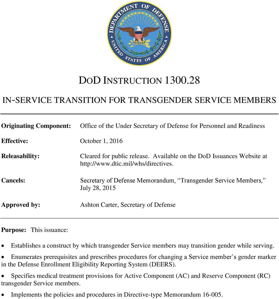 Department of Defense Instruction 1300.28