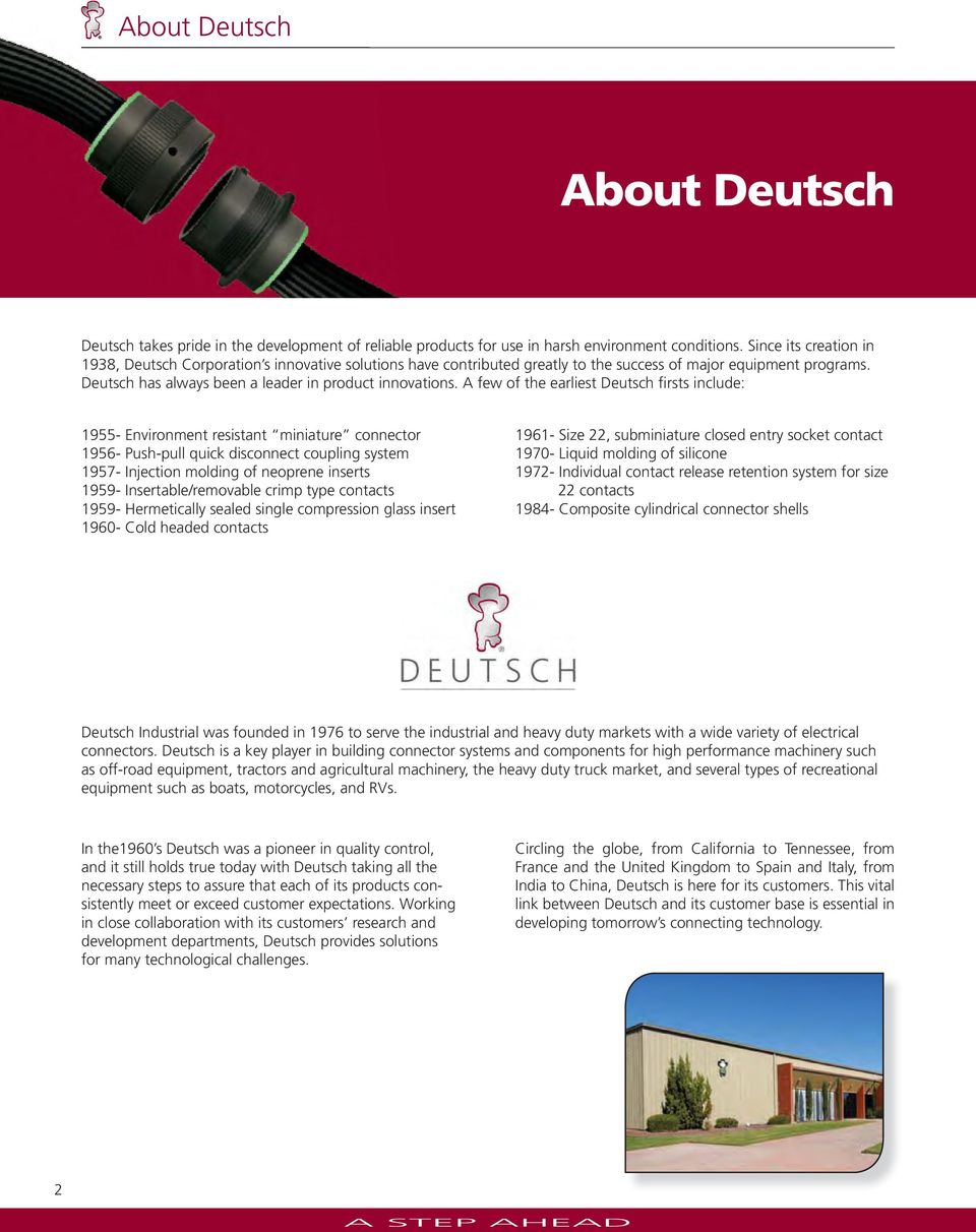 Deutsch Industrial Product Catalog Pdf 9 Pin Deutch Connector On Semi Trucks A Few Of The Earliest Firsts Include 1955 Environment Resistant Miniature 1956