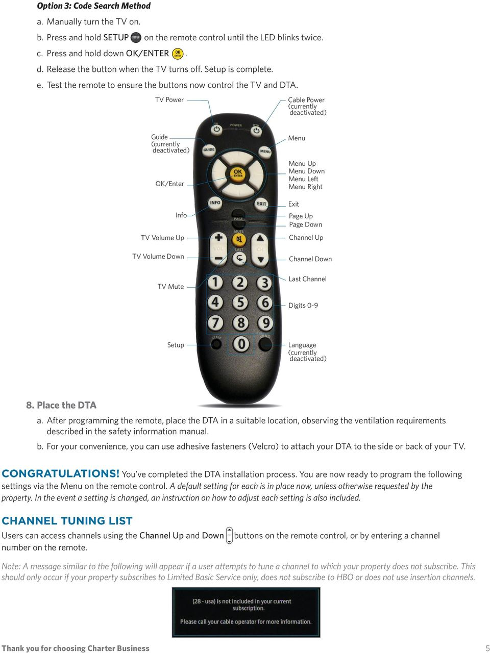 DTA INSTALLATION PROCESS & USER GUIDE FOR CHARTER BUSINESS