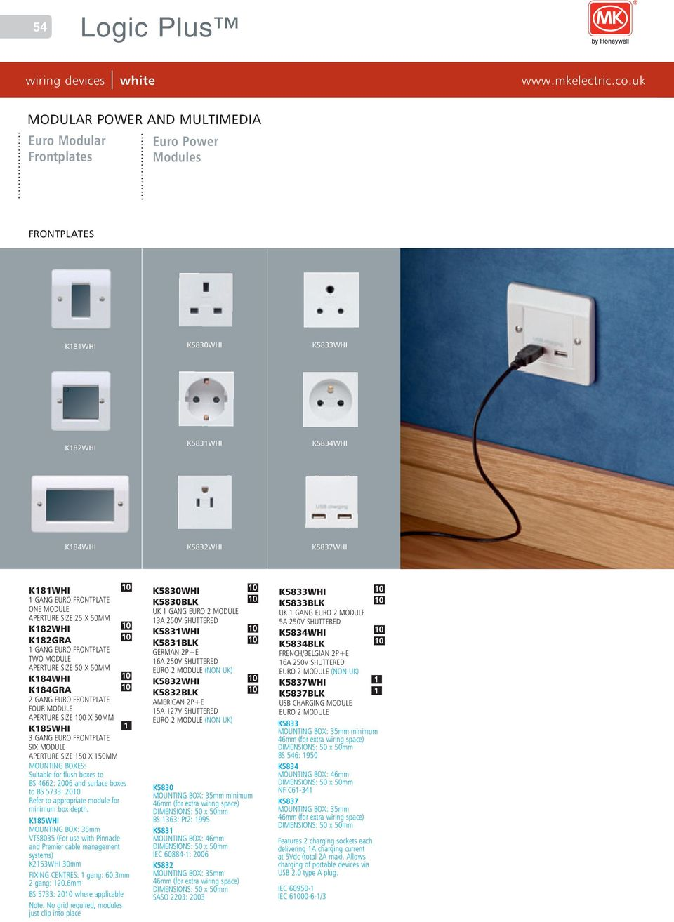 Logic Plus Wiring Devices White Pdf An Mk Socket Gang Euro Frontplate Six Module Aperture Size 150 X 150mm Suitable For Flush Boxes To Bs
