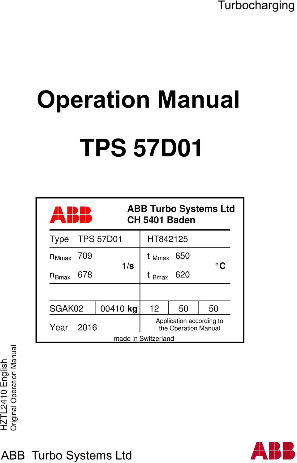 operation manual tps 57d01 pdf rh docplayer net ABB Turbocharger Company abb turbocharger tps 61 manual