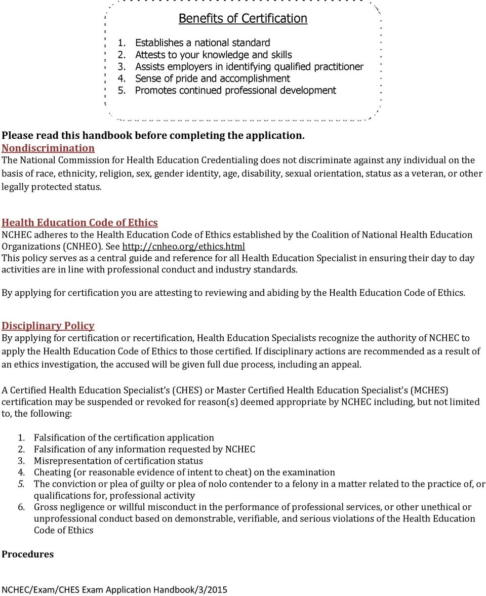 Certified Health Education Specialist Ches Exam Application