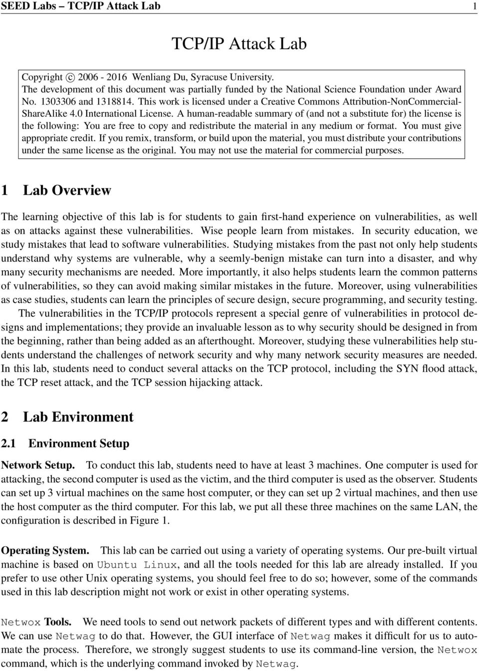 TCP/IP Attack Lab  1 Lab Overview  2 Lab Environment  2 1