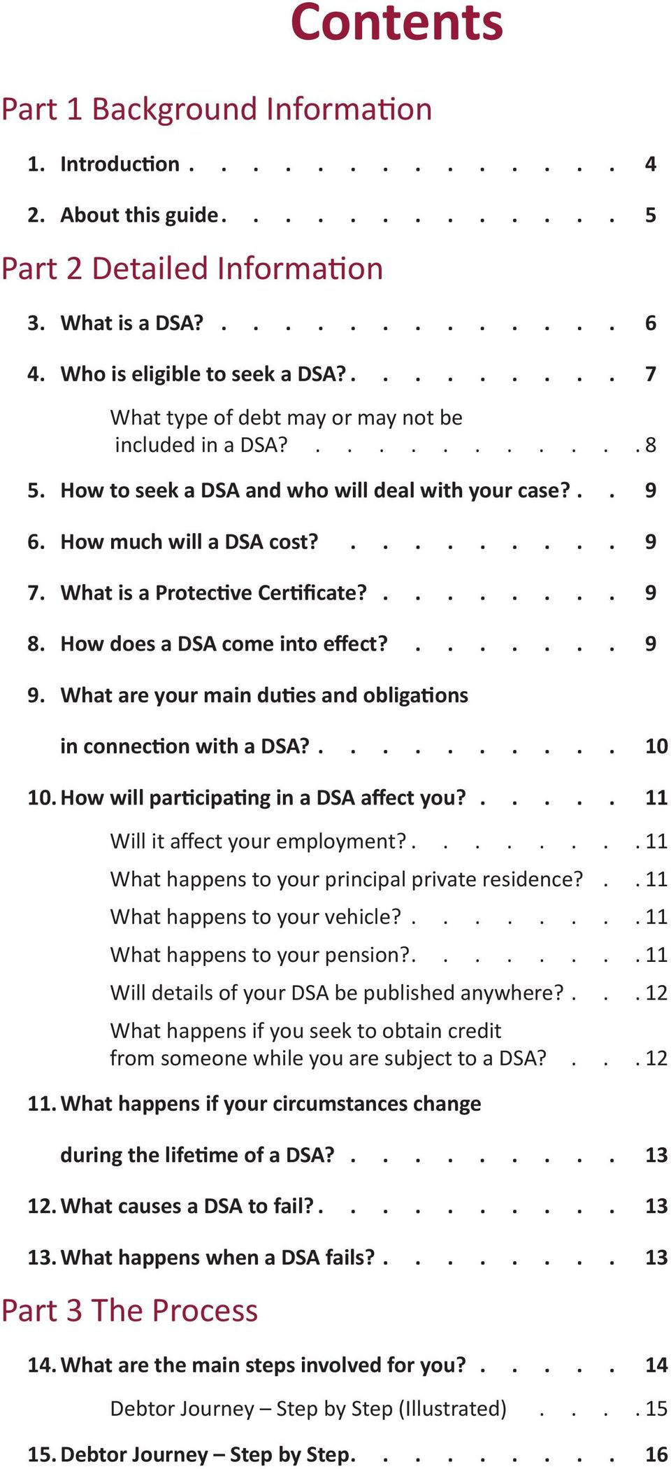 What is a Protective Certificate? 9 8. How does a DSA come into effect?....... 9 9. What are your main duties and obligations in connection with a DSA? 10 10.