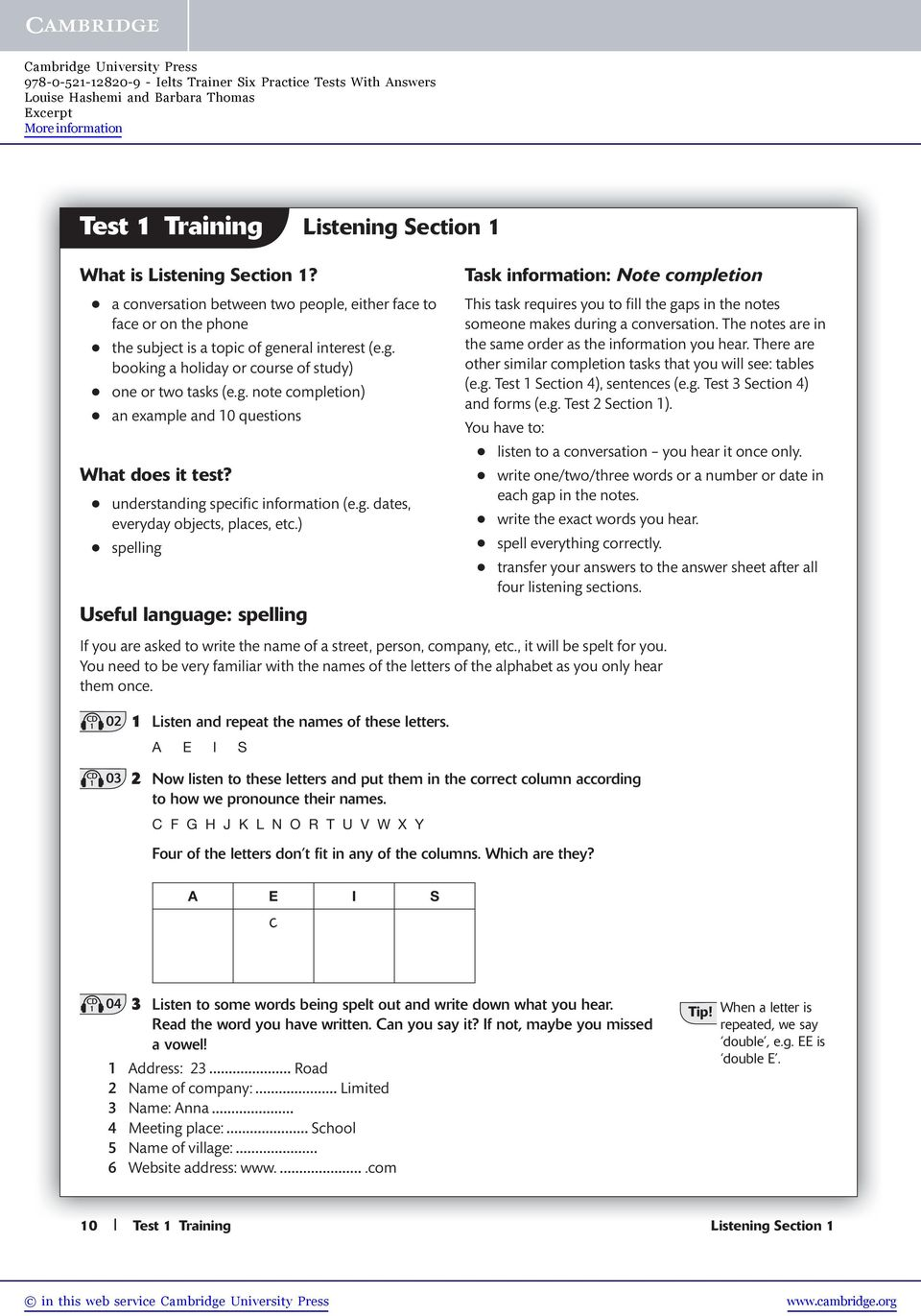 Test 1 Training Listening Section 1 - PDF