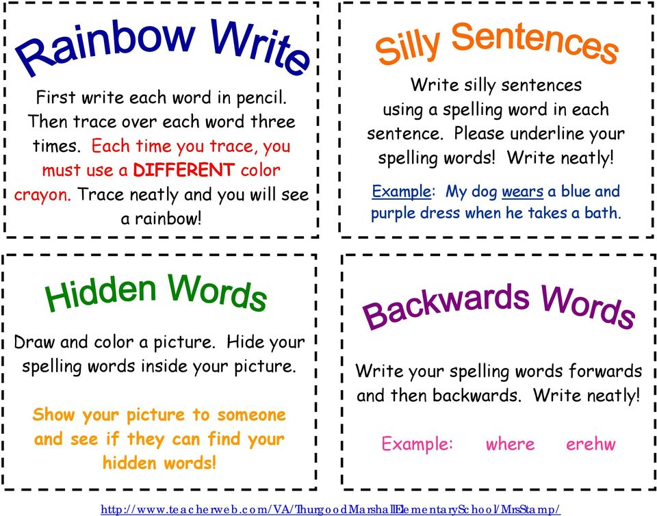 write silly sentences using a spelling word in each sentence please