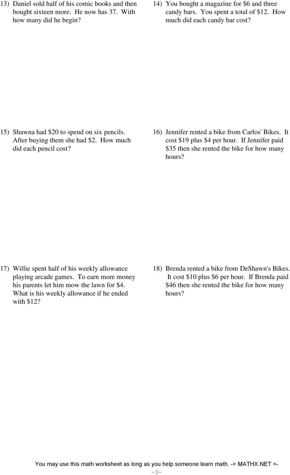 Two Step Equations Word Problems Integers Pdf