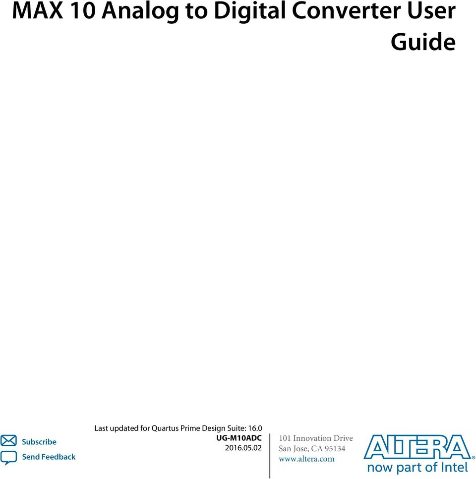 MAX 10 Analog to Digital Converter User Guide - PDF