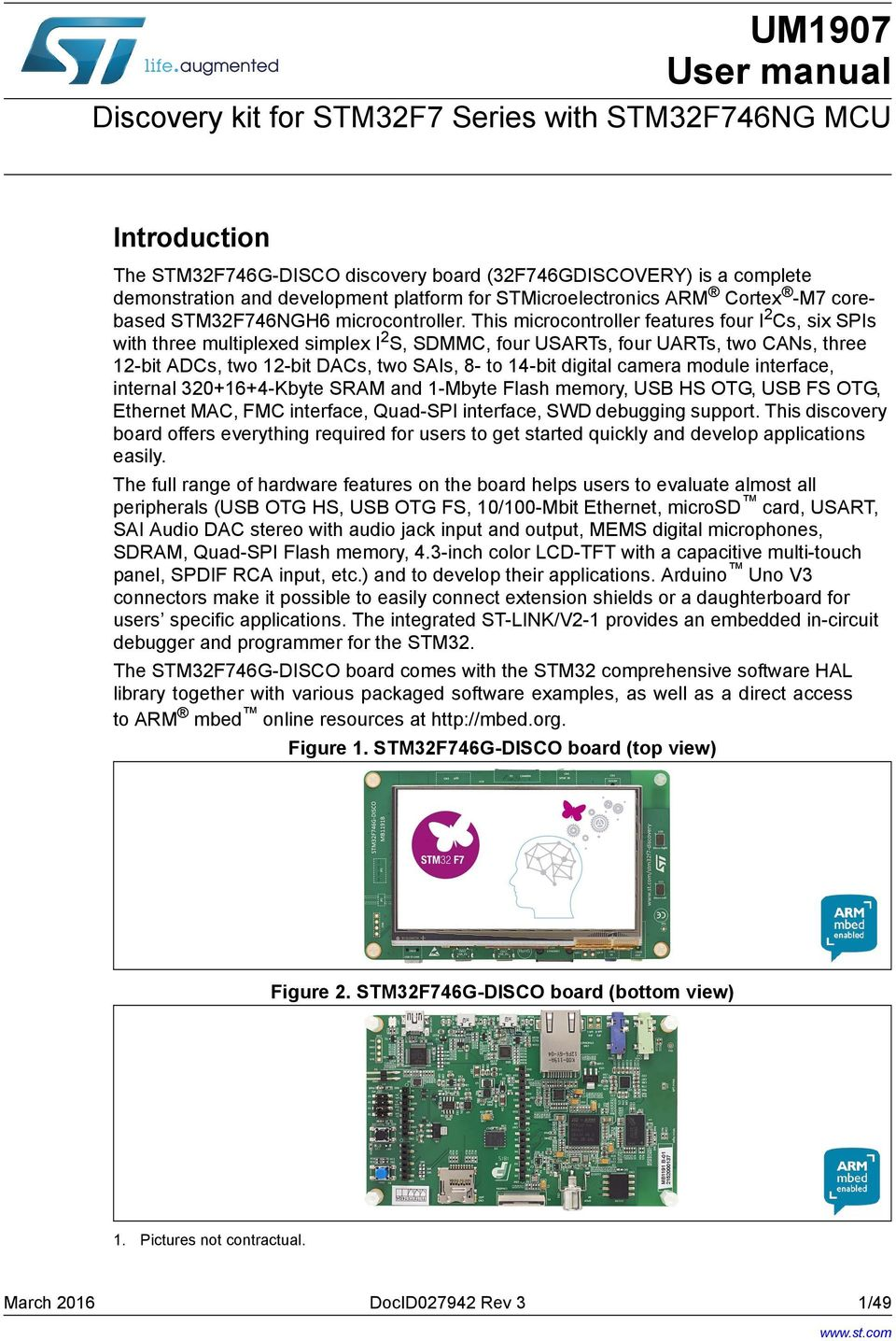 Discovery kit for STM32F7 Series with STM32F746NG MCU - PDF