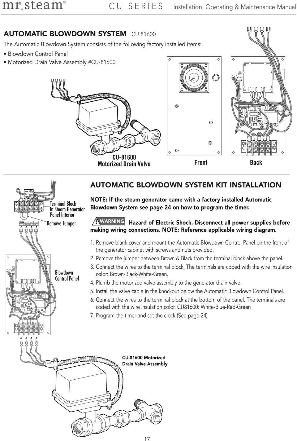 Installation Operation Maintenance Manual Mrsteam Feel Good Thread Switch Wiring Diagram For Mr Board With 4 Wire System See Page 24 On How To Program The Timer Warning Hazard Of Electric
