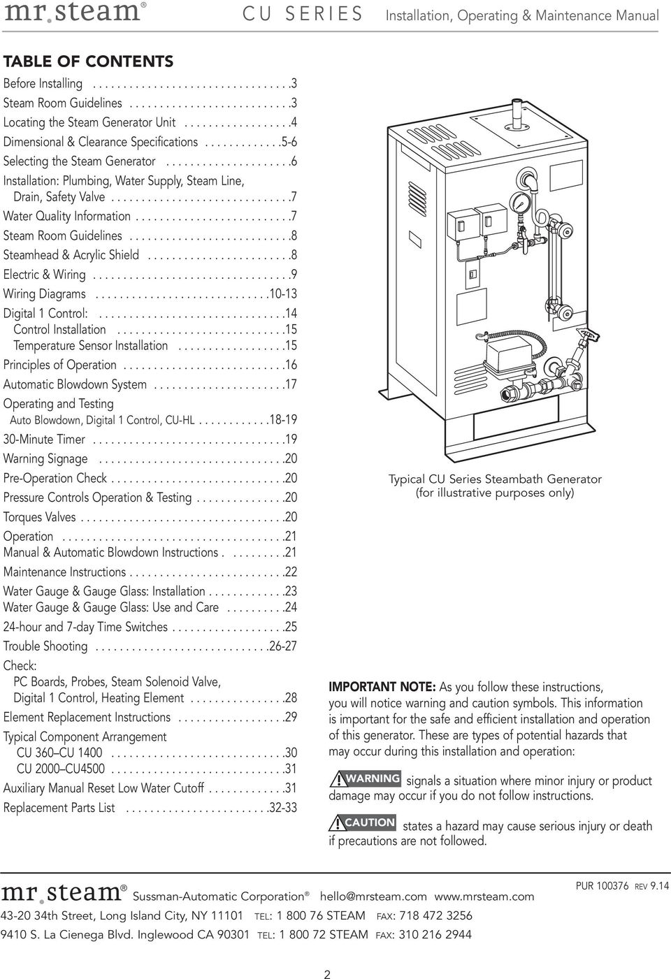 Installation Operation Maintenance Manual Mrsteam Feel Good Fireplace Gas Valve Wiring On Generator Diagram 3 Before Installing Important Take Time To Read These Instructions Thoroughly