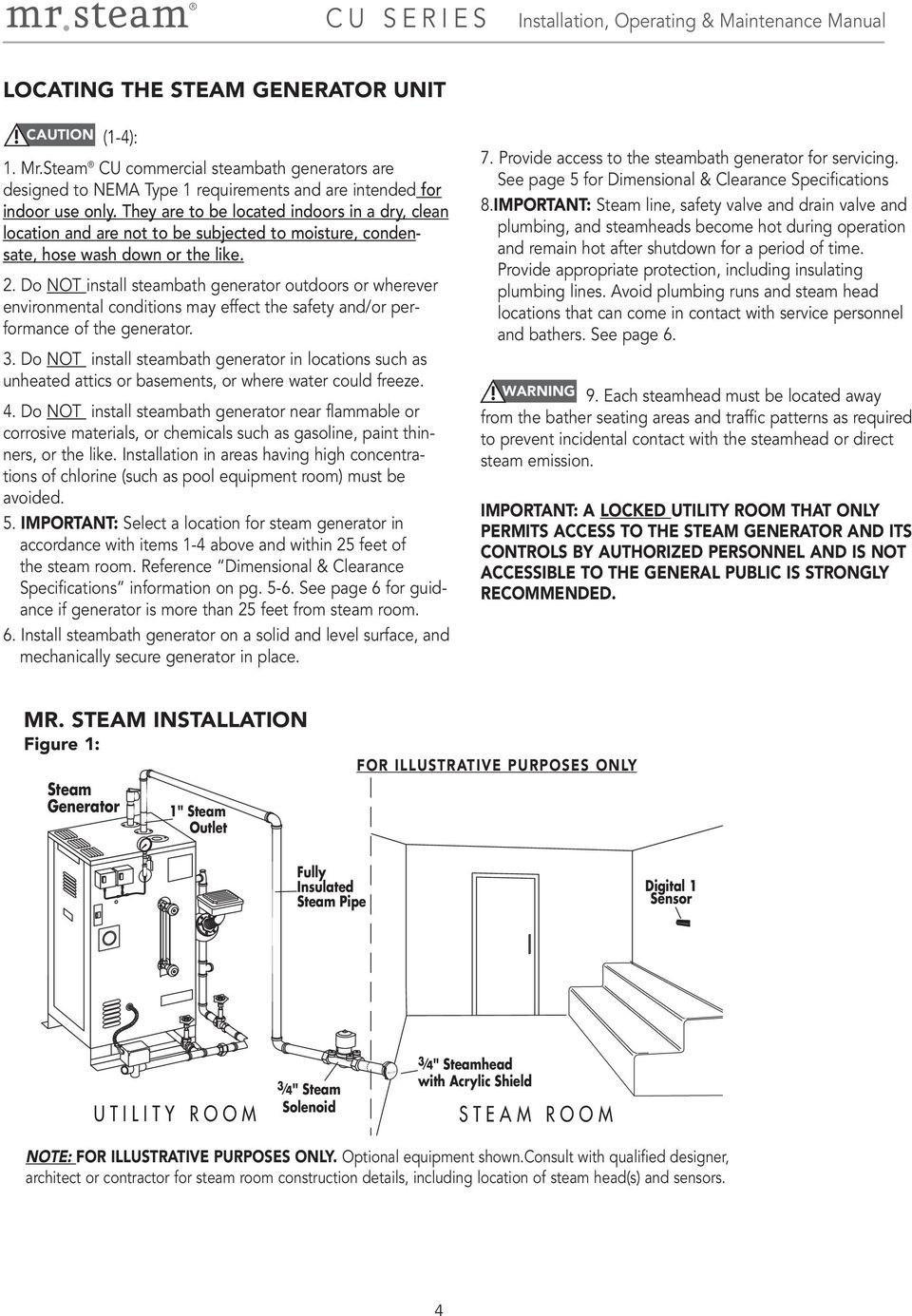 Do NOT install steambath generator outdoors or wherever environmental  conditions may effect the safety and/