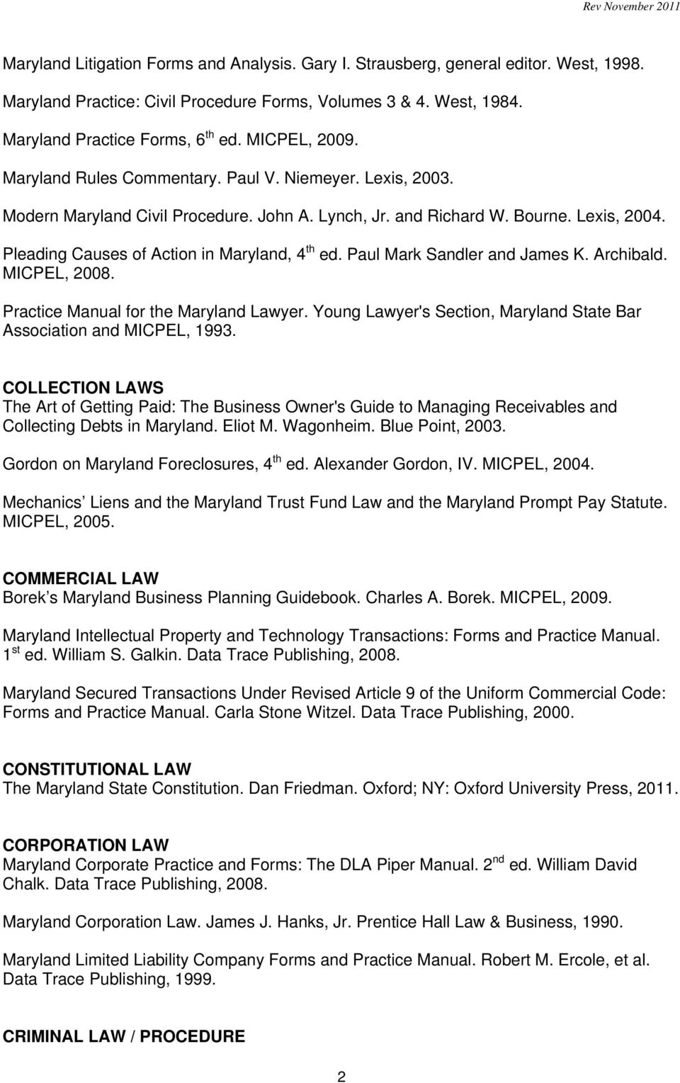Recommended Maryland Treatises For The Core Collection Compiled By