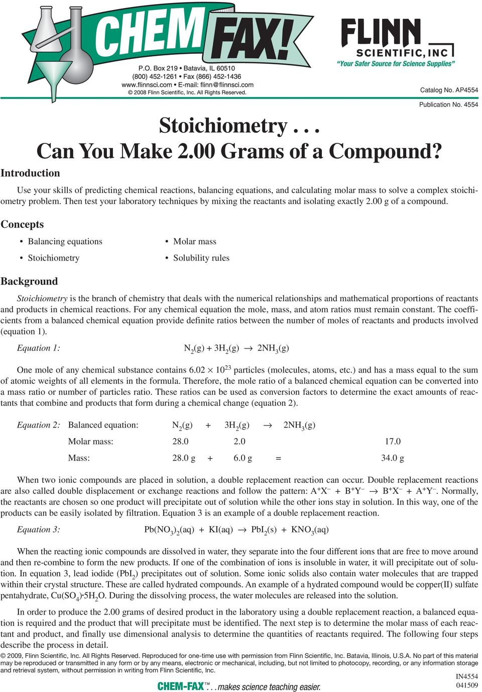 Stoichiometry. Can You Make 2.00 Grams of a Compound? - PDF