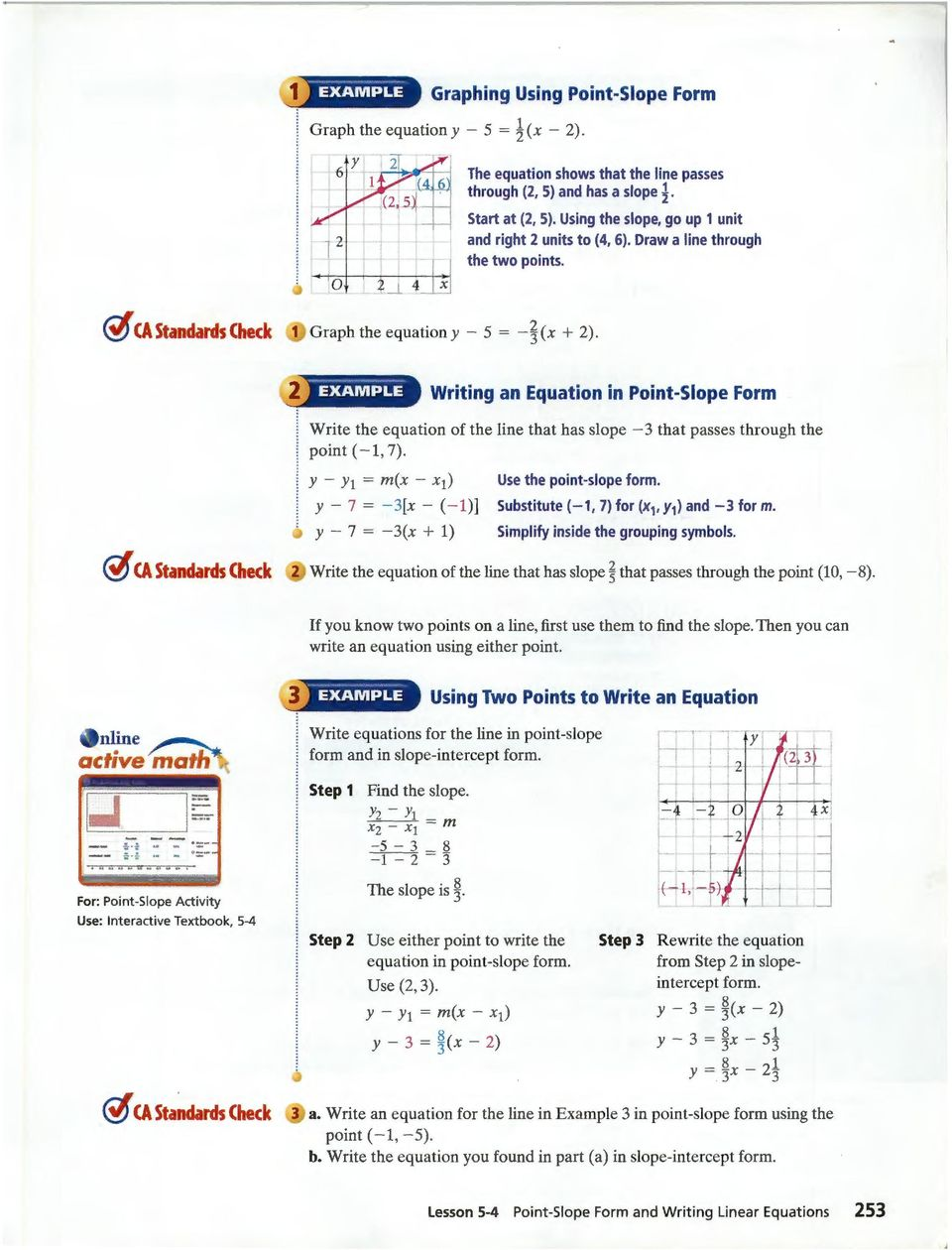 Point Slope Form And Writing Linear Equations Pdf