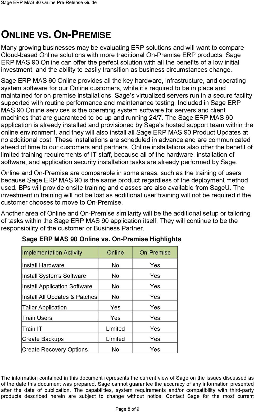 Sage ERP MAS 90 Online provides all the key hardware, infrastructure, and operating system software for our Online customers, while it s required to be in place and maintained for on-premise