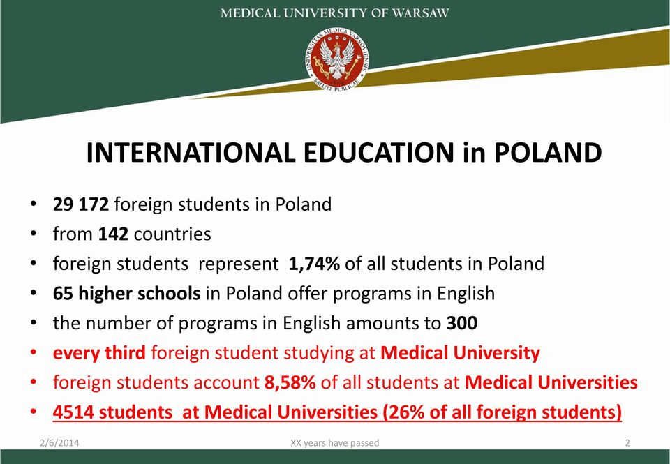 amounts to 300 every third foreign student studying at Medical University foreign students account 8,58% of all