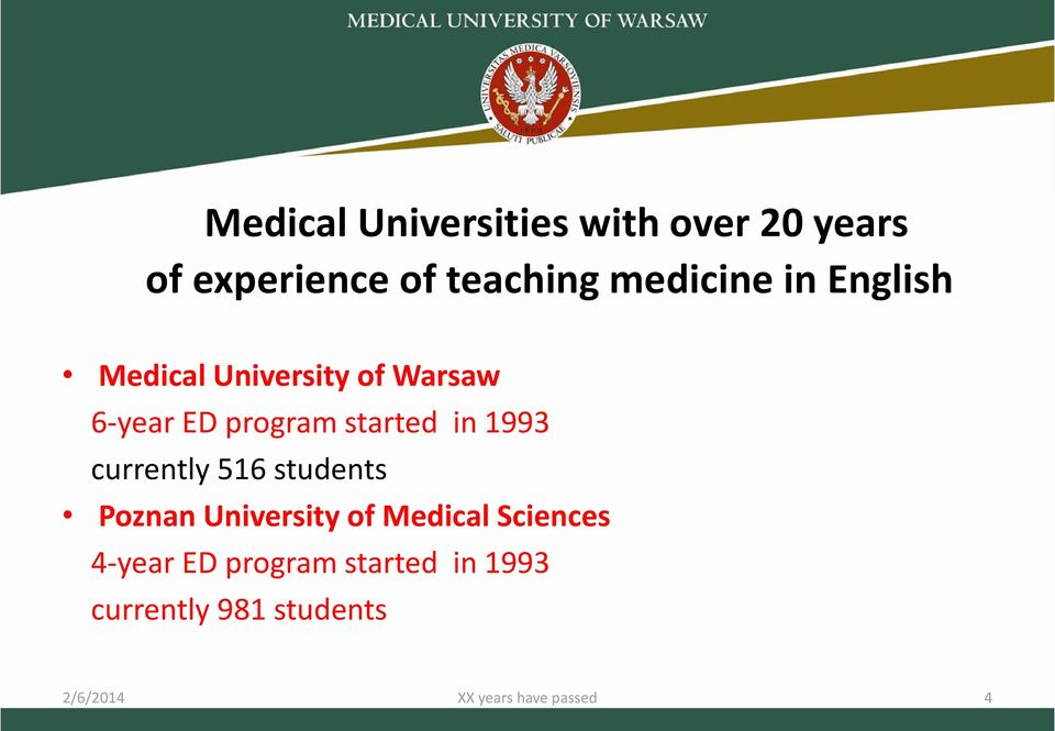 currently 516 students Poznan University of Medical Sciences 4-year ED