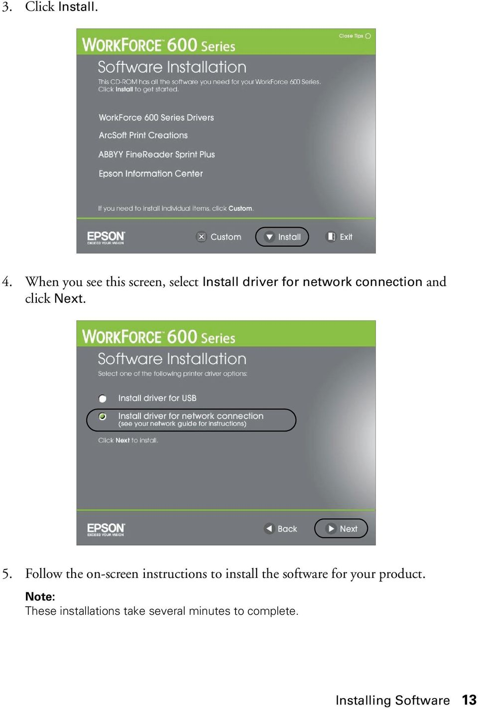 Using the Control Panel for Wireless Network Installation  WorkForce