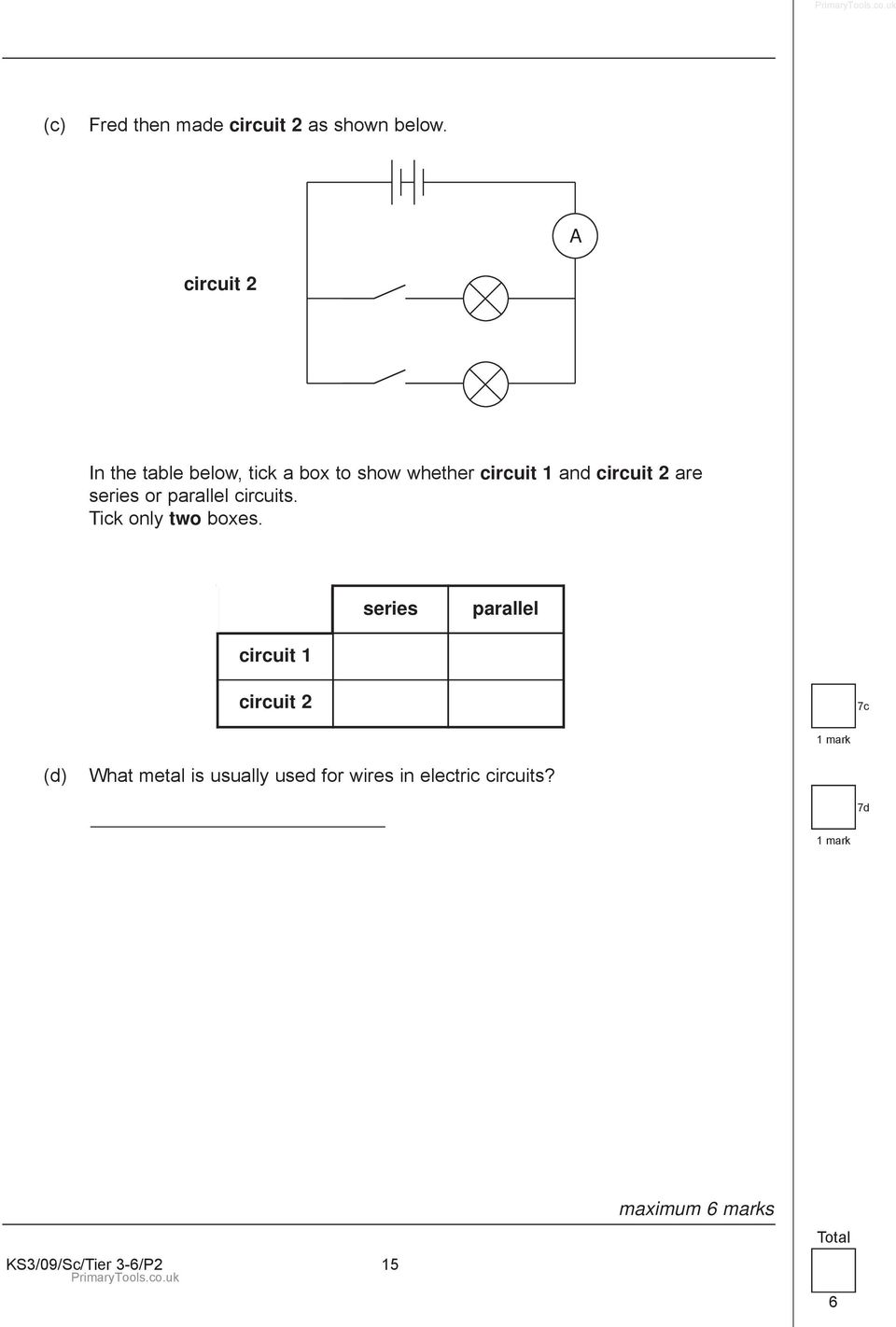 Paper 2 Science Test Remember First Name Last School Key Electricity Quizzes And Revision Notes For Stage 3 Gcse Two Tick Only Boxes