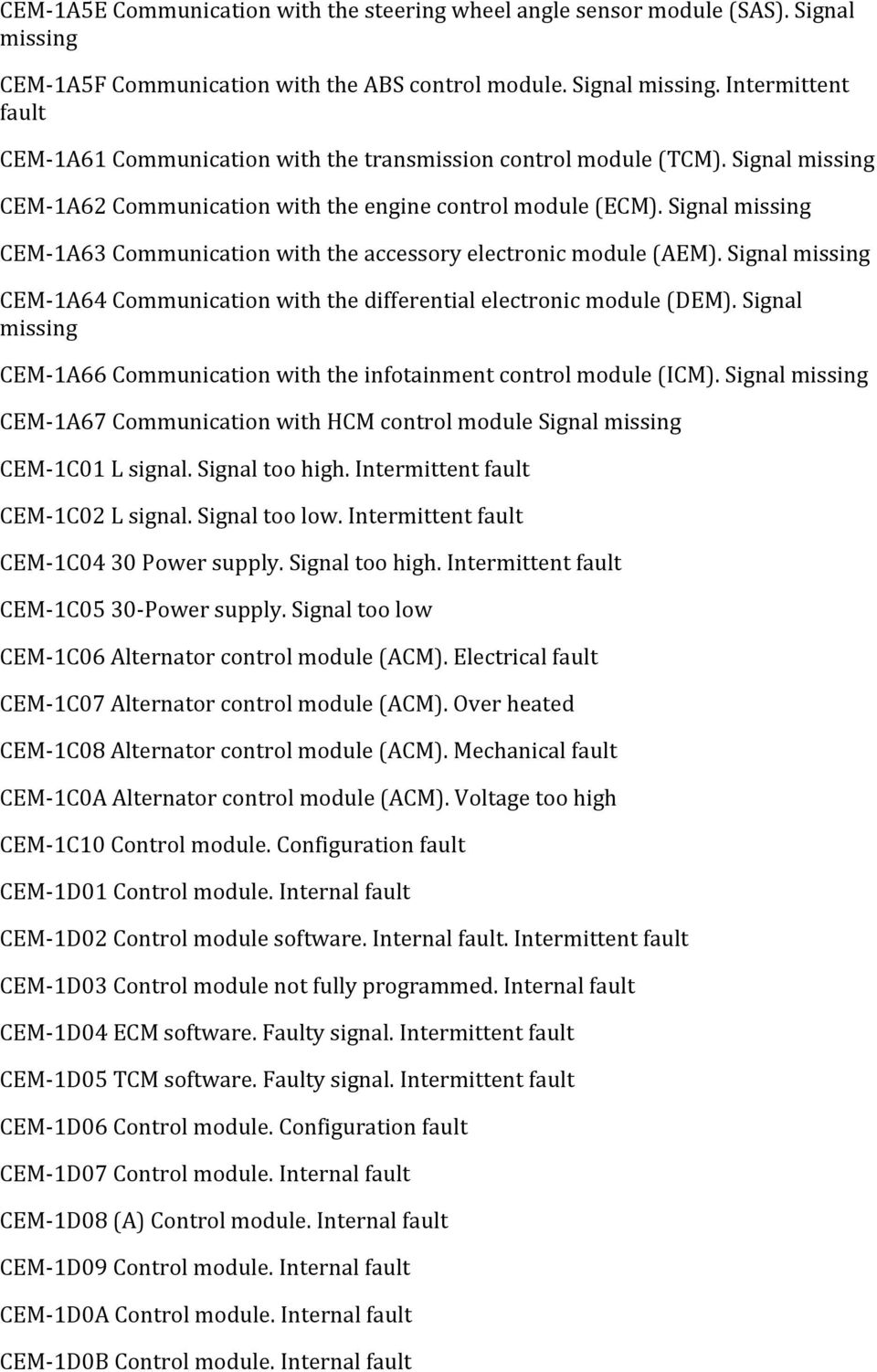 Abs Left Front Wheel Sensor Faulty Signal Lhd Volvo Headlight Wiring Diagram Missing Cem 1a64 Communication With The Differential Electronic Module Dem