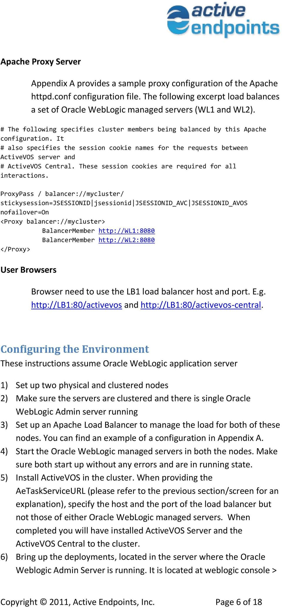 High Availability Configuration of ActiveVOS Central with Apache