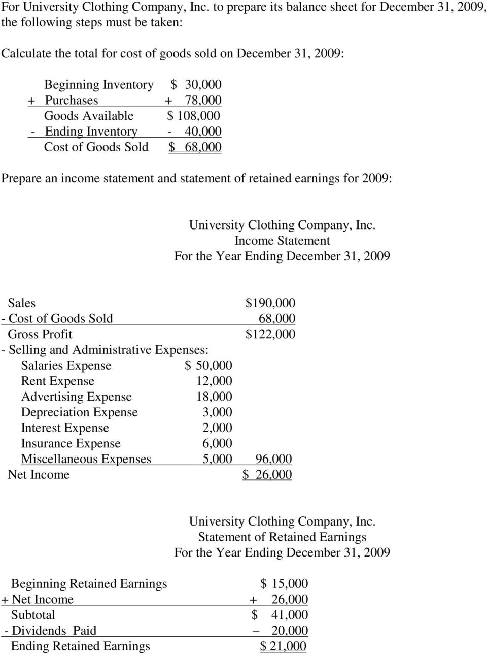 December 31, 2009 Sales $190,000 - Cost of Goods Sold 68,000 Gross Profit $122,000 - Selling and Administrative Expenses: Salaries Expense $ 50,000 Depreciation Expense 3,000 Interest Expense 2,000