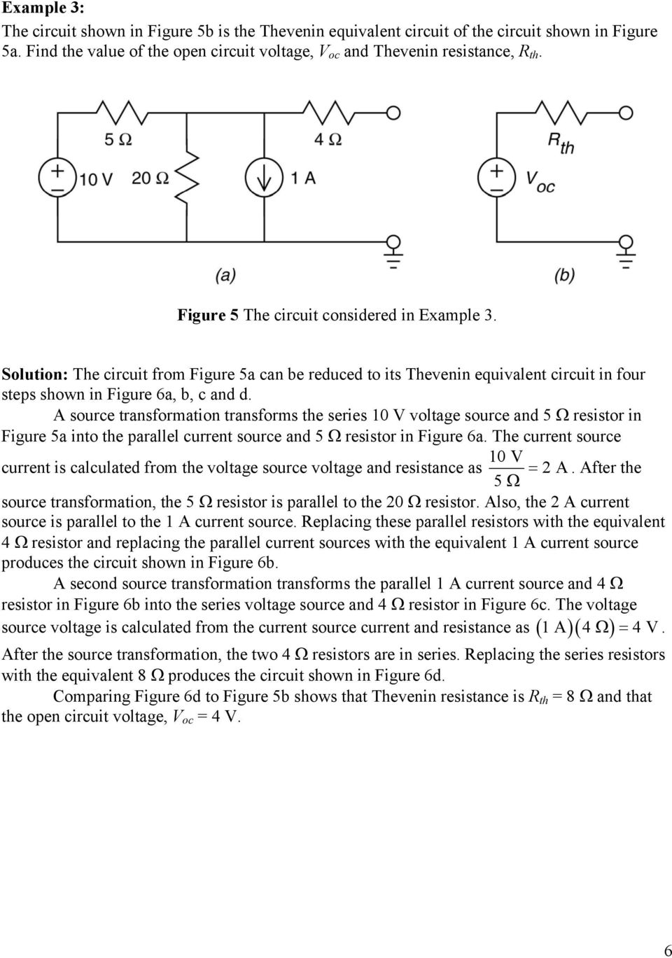 Thevenin Equivalent Circuits Pdf Ac Circuit With Current And Voltage Source A Transformation Transforms The Series 10 V 5 Resistor In Figure