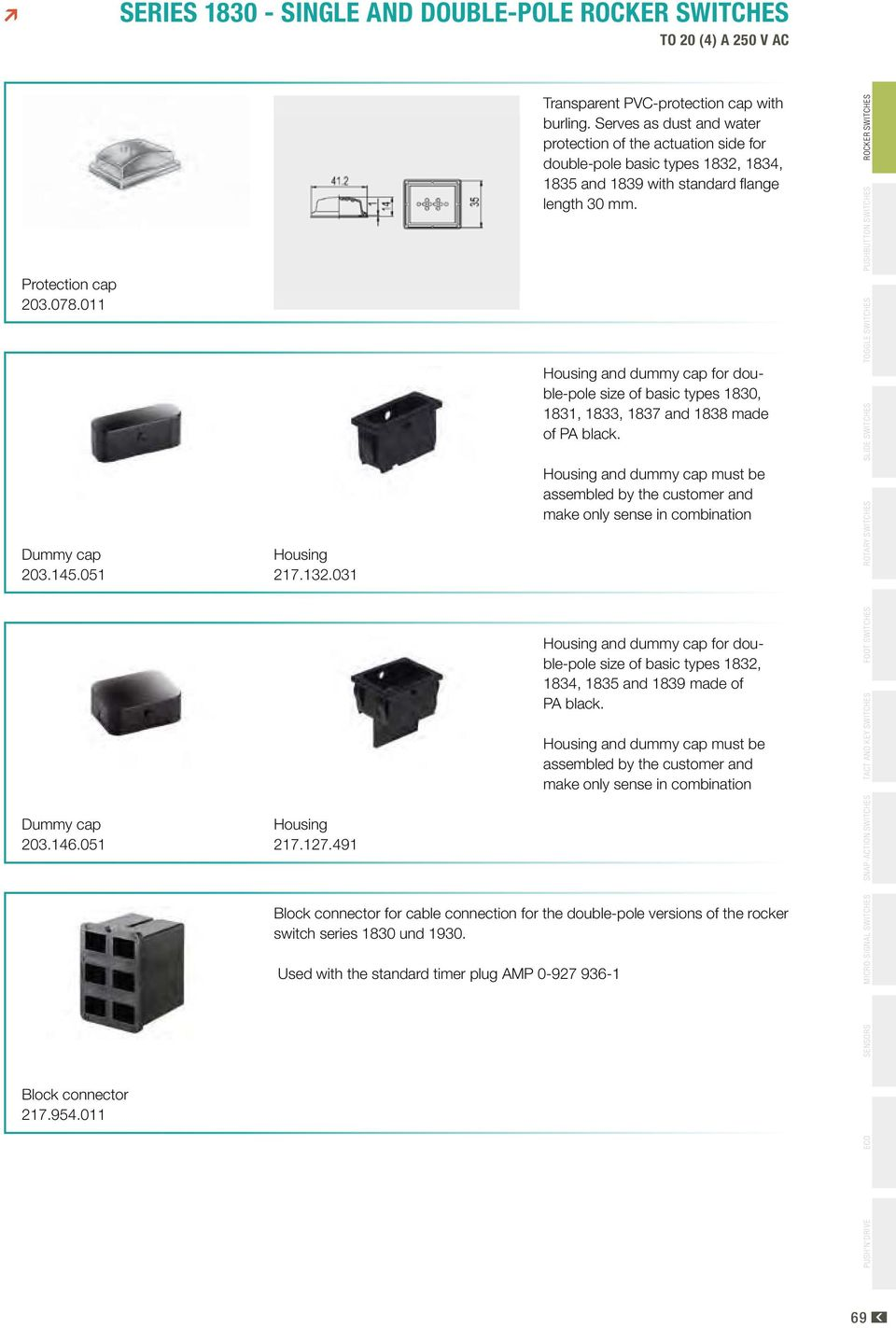 Series Single And Double Pole Rocker Switches To 20 4 A 250 V Ac Pdf Mini Rockers Illuminated Non Spst Housing Dummy Cap For Size Of Basic Types 1830 1831