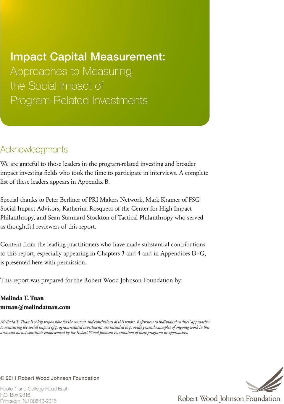 Impact Capital Measurement  Approaches to Measuring the