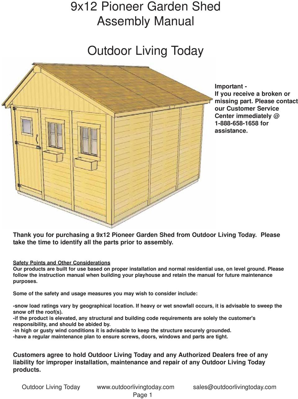 9x12 Pioneer Garden Shed Assembly Manual  Outdoor Living Today - PDF