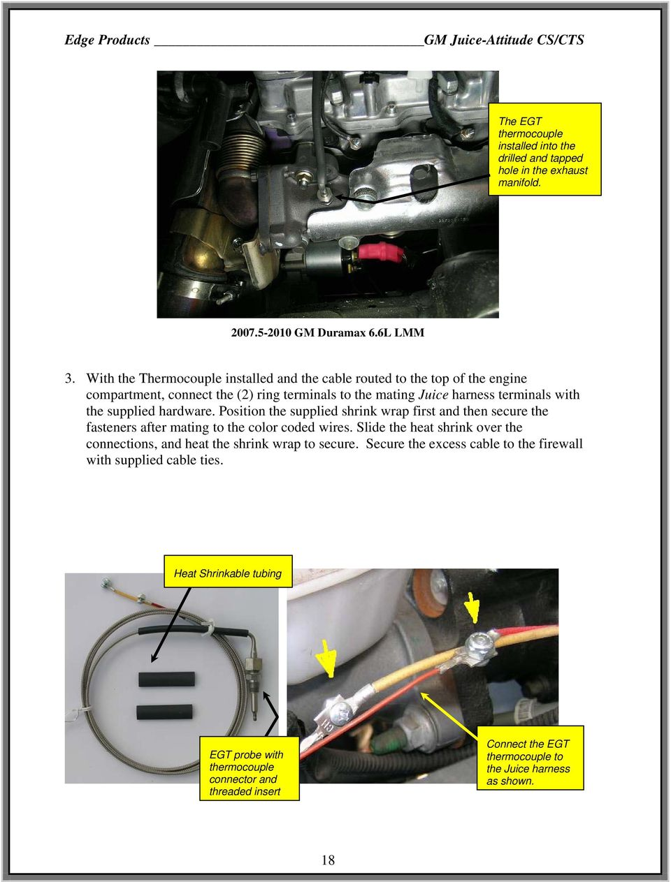 Edge Gm Juice Supplement Installation Instructions Read Important Wire Harness Connector With Hardware Position The Supplied Shrink Wrap First And Then Secure Fasteners After Mating To