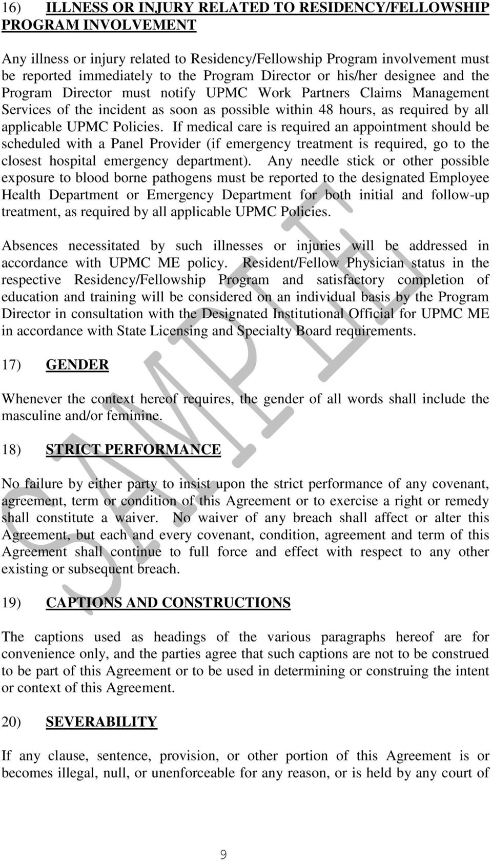 UPMC MEDICAL EDUCATION POSTGRADUATE TRAINING AGREEMENT - PDF