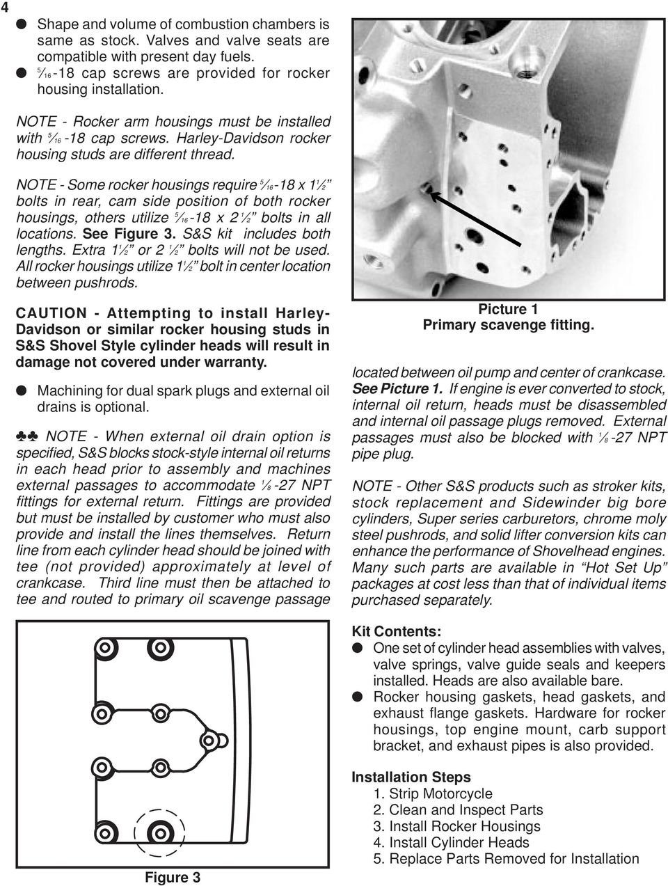 S&S Cycle, Inc  Installation Instructions for S&S Super