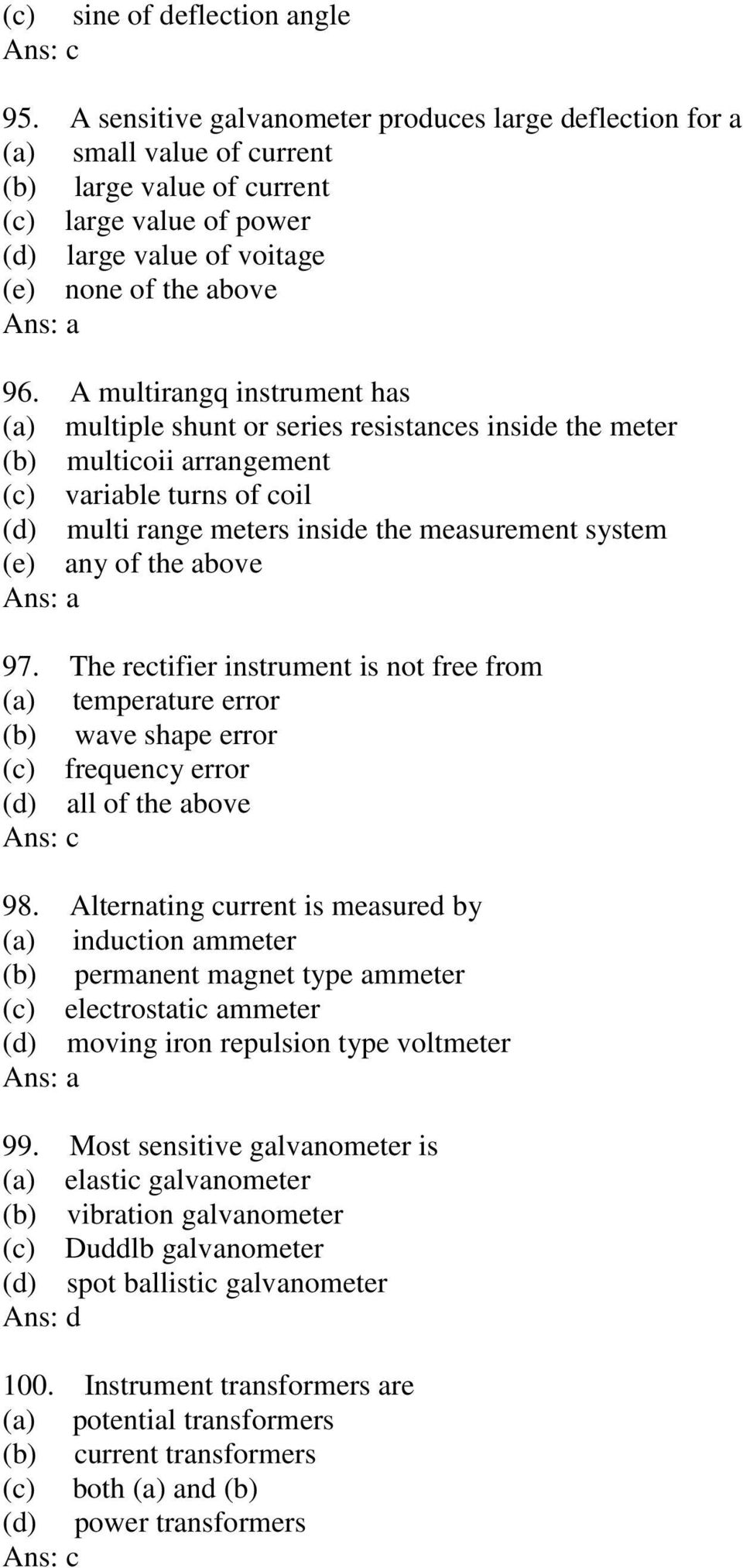 Government College Of Engineering Bargur Measurements And Electrodynamometer Power Factor Meter Electronic Instrumentation A Multirangq Instrument Has Multiple Shunt Or Series Resistances Inside The