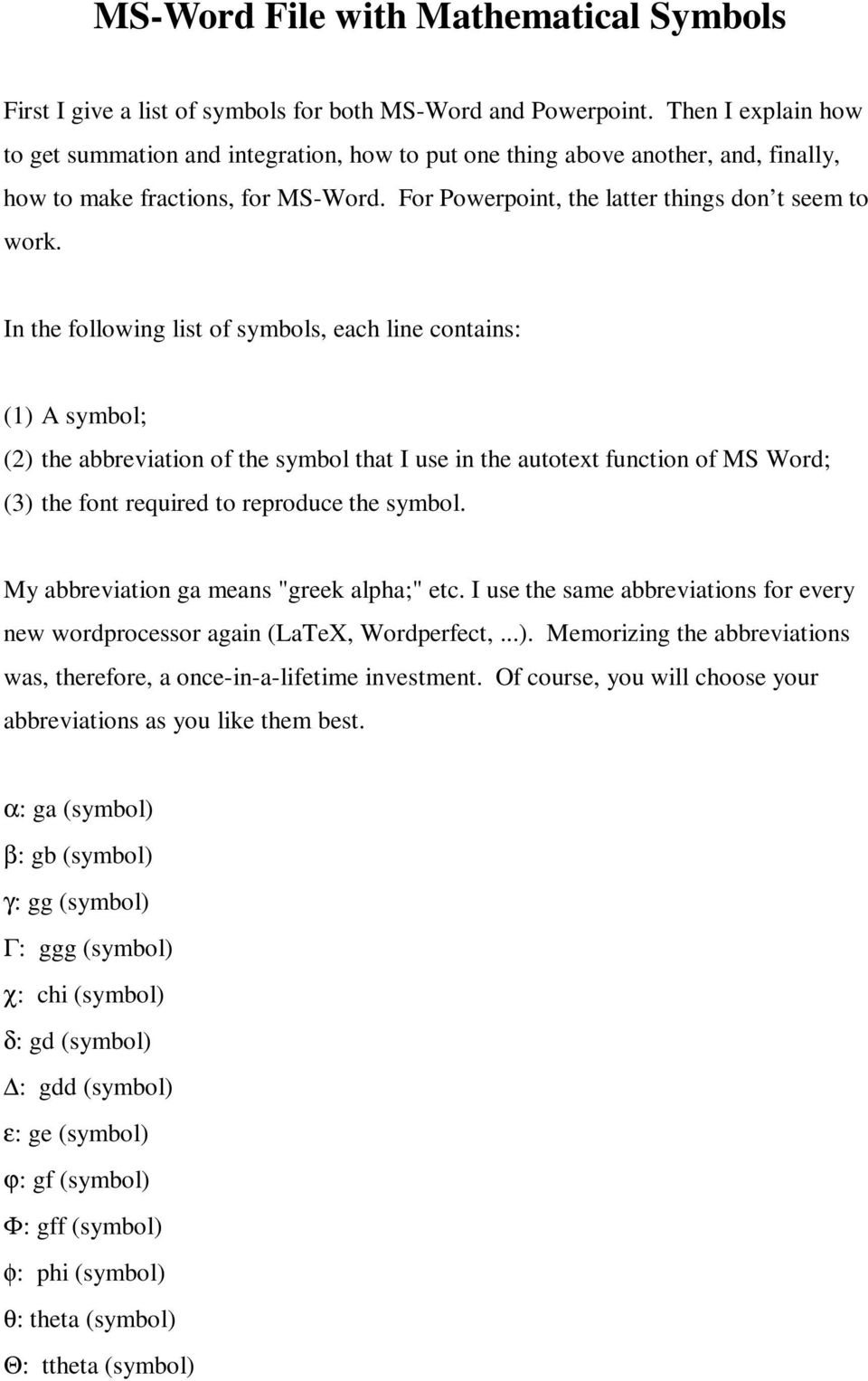 ms-word file with mathematical symbols - pdf