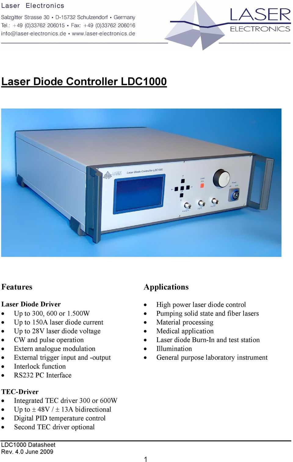 Laser Diode Controller Ldc Pdf Pulsed Driver Circuit Cost Pulse Operation Burn In And Test Station Extern Analogue Modulation Illumination External Trigger