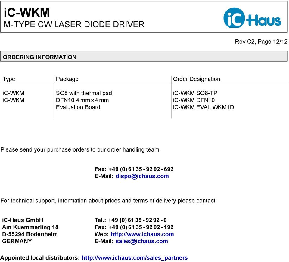 ic-wkm M-TYPE CW LASER DIODE DRIVER - PDF Free Download