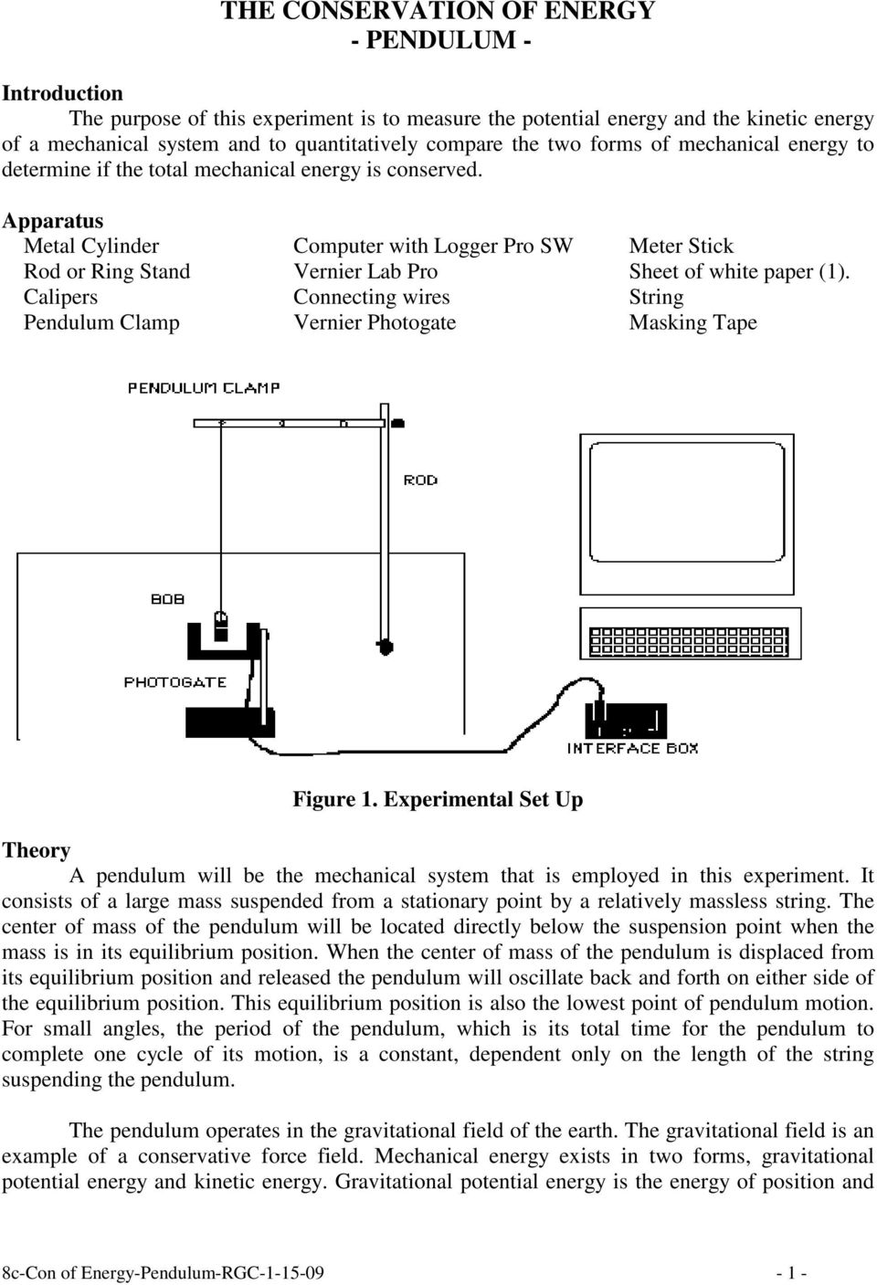 The Conservation Of Energy Pendulum Pdf Ring Pro Wiring Diagram Apparatus Metal Cylinder Computer With Logger Sw Meter Stick Rod Or Stand Vernier Lab