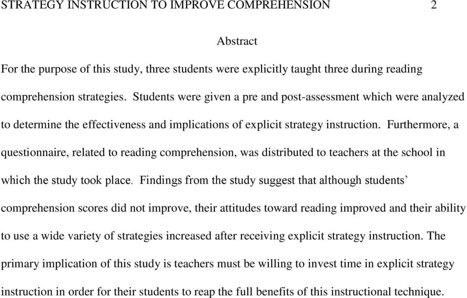 Using Explicit Strategy Instruction To Improve Reading Comprehension