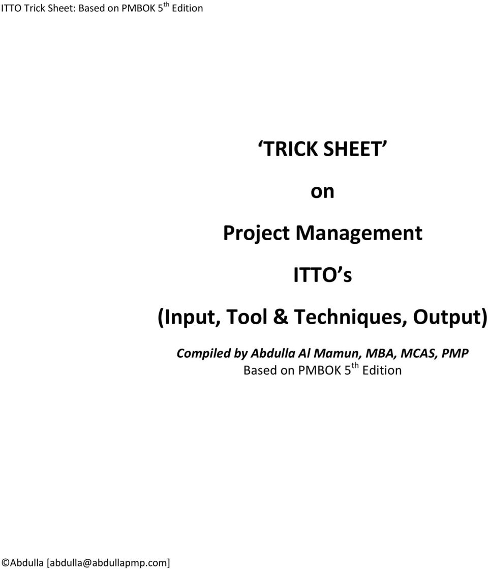 TRICK SHEET on Project Management ITTO s (Input, Tool & Techniques